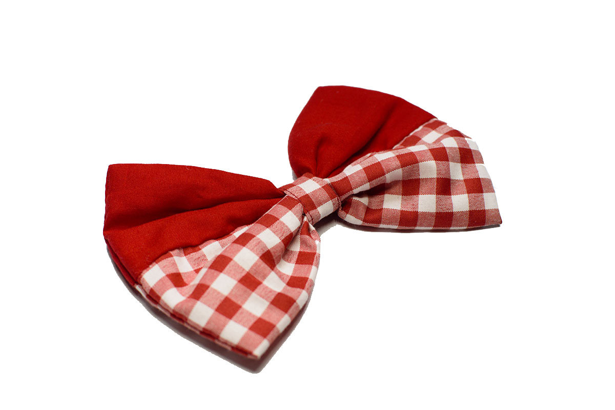 Mutt Ofcourse Gingham Red Dog Bow