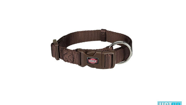 Trixie Premium Solid Dog Collar, Mocha