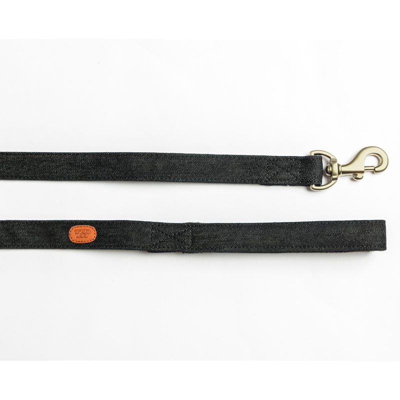 Pet Wale Black Denim Dog Leash with Padded Handle