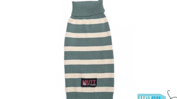 Mutt Ofcourse Emerald & White Dog Sweater
