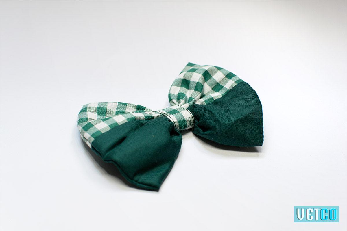 Mutt Ofcourse Gingham Green Dog Bow