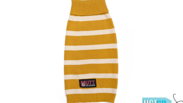 Mutt Ofcourse Mustard & White Dog Sweater