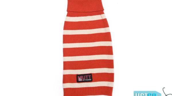 Mutt Ofcourse Orange & White Dog Sweater