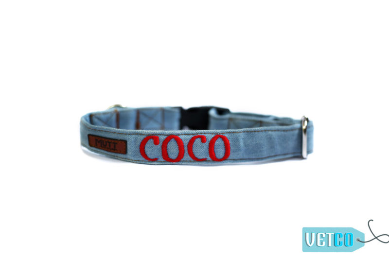 Mutt Ofcourse Personalized Stud Muffin Light Blue Denim Dog Collar