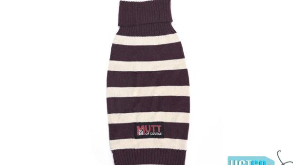 Mutt Ofcourse Purple & White Dog Sweater