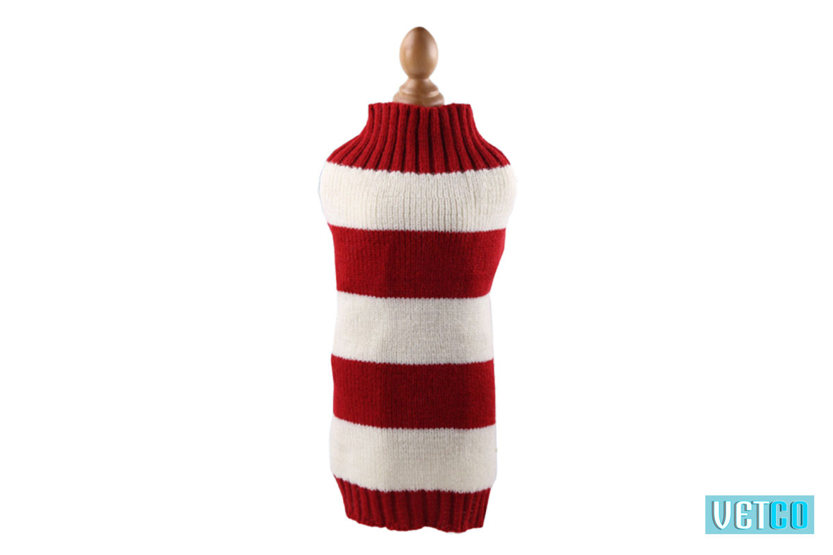 Mutt Ofcourse Red & White Dog Sweater