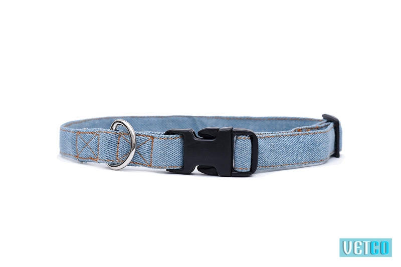Mutt Ofcourse Stud Muffin Light Blue Denim Dog collar
