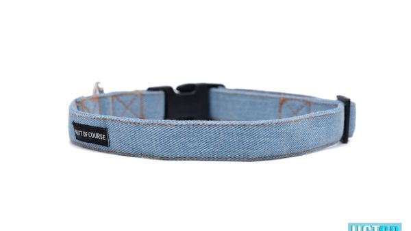 Mutt Ofcourse Stud Muffin Light Blue Denim Dog Leash