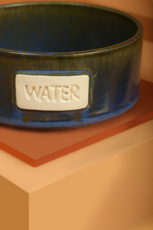 We Exist Cobalt & Slate Ceramic Water Bowl