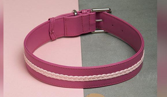 We Exist Lovestruck Red Denim & Vegan Leather Dog Collar