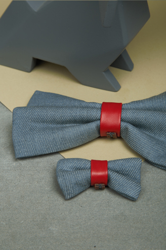 We Exist Lovestruck Red Denim & Vegan Leather Bow Tie