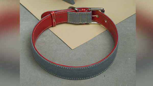 We Exist Lovestruck Red Denim & Vegan Leather Dog Collar