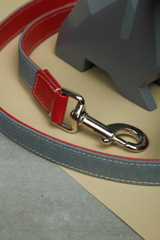 We Exist Lovestruck Red Denim & Vegan Leather Leash