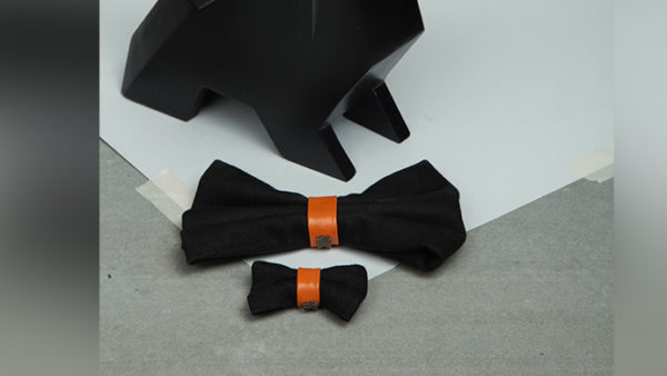 We Exist Orange Crush Denim & Vegan Leather Bow