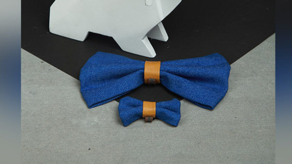 We Exist Puppy Love Tan Denim & Vegan Leather Bow Tie