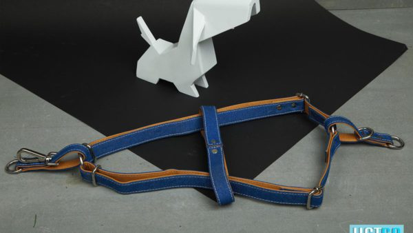 We Exist Puppy Love Tan Denim & Vegan Leather Harness