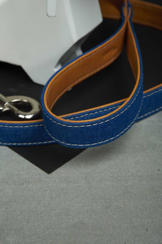 We Exist Puppy Love Tan Denim & Vegan Leather Leash