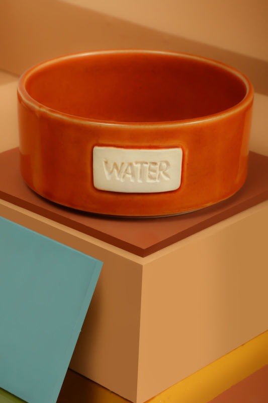 We Exist Tangerine Ceramic Water Bowl
