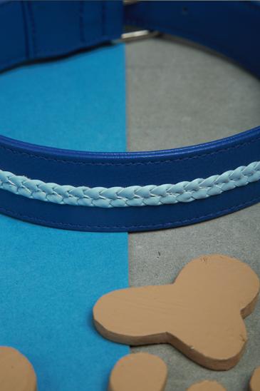 We Exist Tickle Me Blue Vegan Leather Dog Collar