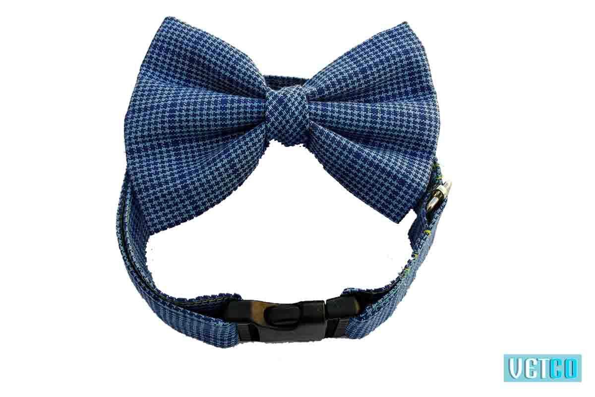 Hazel & Co Blue Lagoon Dog Collar & Bow Set