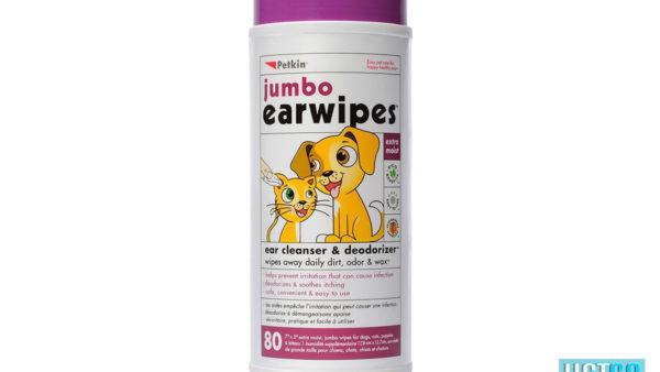 Petkin Jumbo Dog & Cat Ear Wipes, 80 count