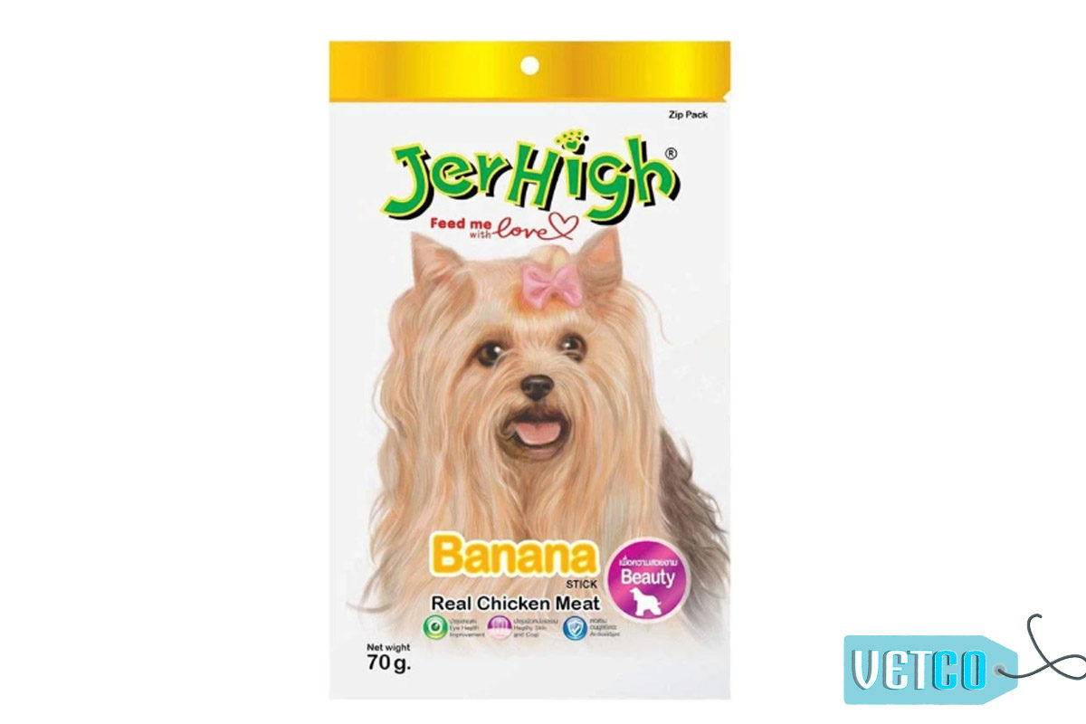 JerHigh Banana Stick Dog Treats with Real Chicken, 70 gms