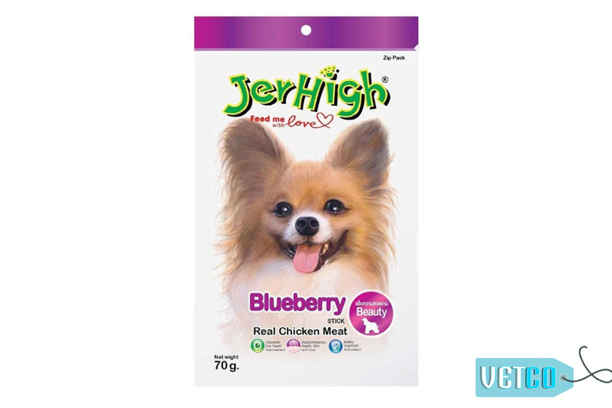JerHigh Blueberry Stick Dog Treats with Real Chicken, 70 gms