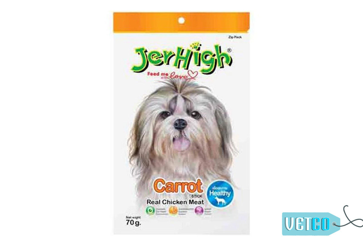 JerHigh Carrot Stick Dog Treats with Real Chicken, 70 gms