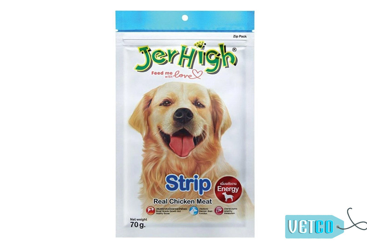 JerHigh Strip Dog Treats with Real Chicken, 70 gms