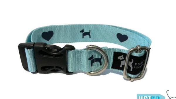 PoochMate Blue Monogram Cotton Webbing Collar