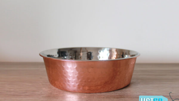 PoochMate Hammered Copper Flat Dog Bowl