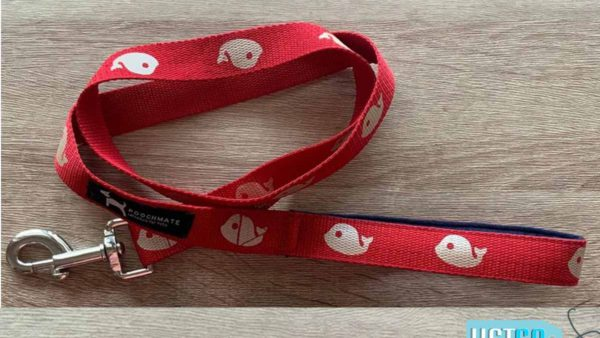 PoochMate Whale Done Cotton Leash - Red