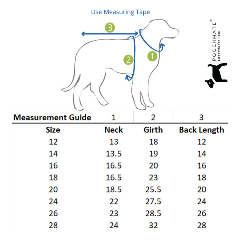 poochmate sweater size guide