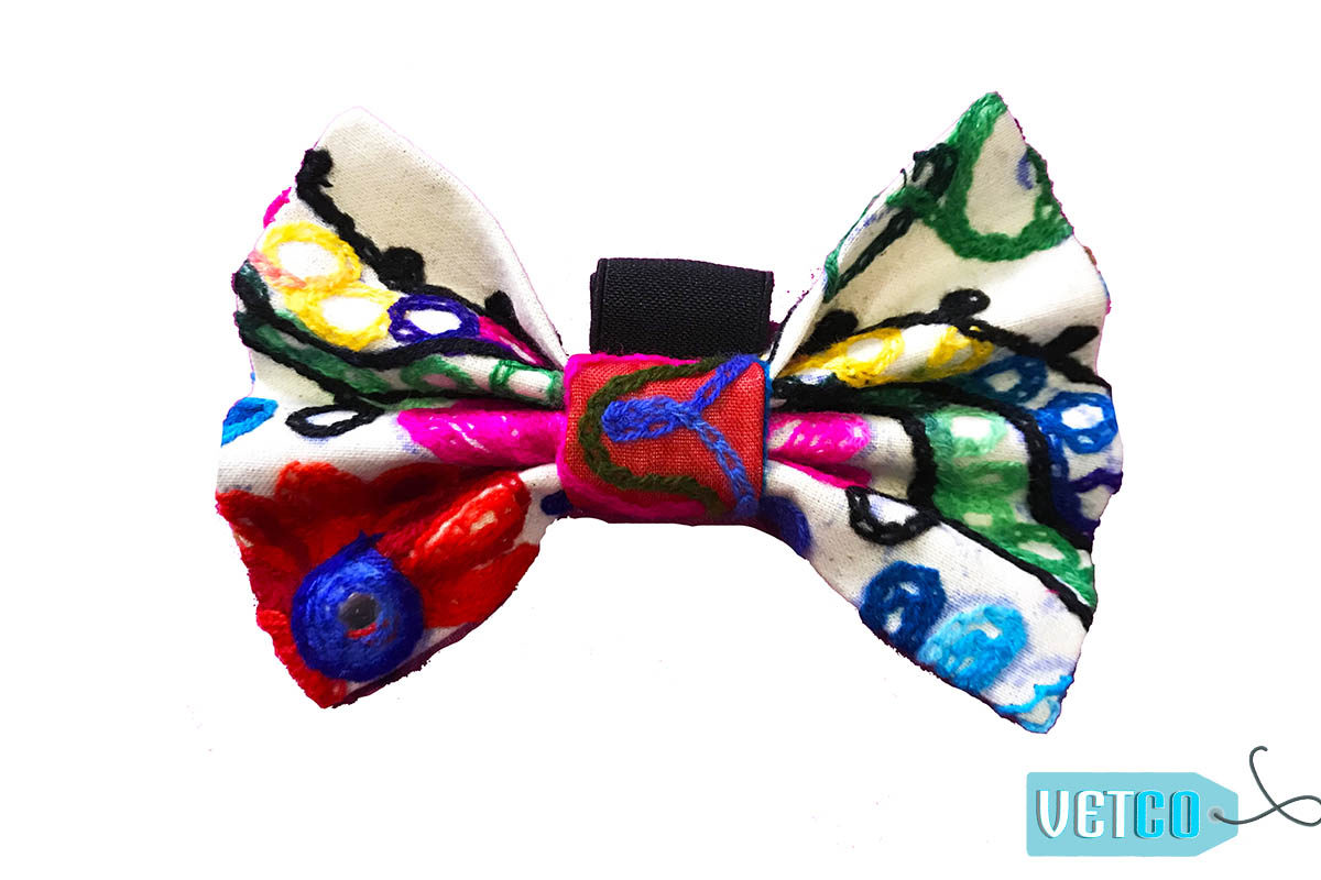 FTFK Gujarati Mirror Embroidery Bow Tie For Dogs
