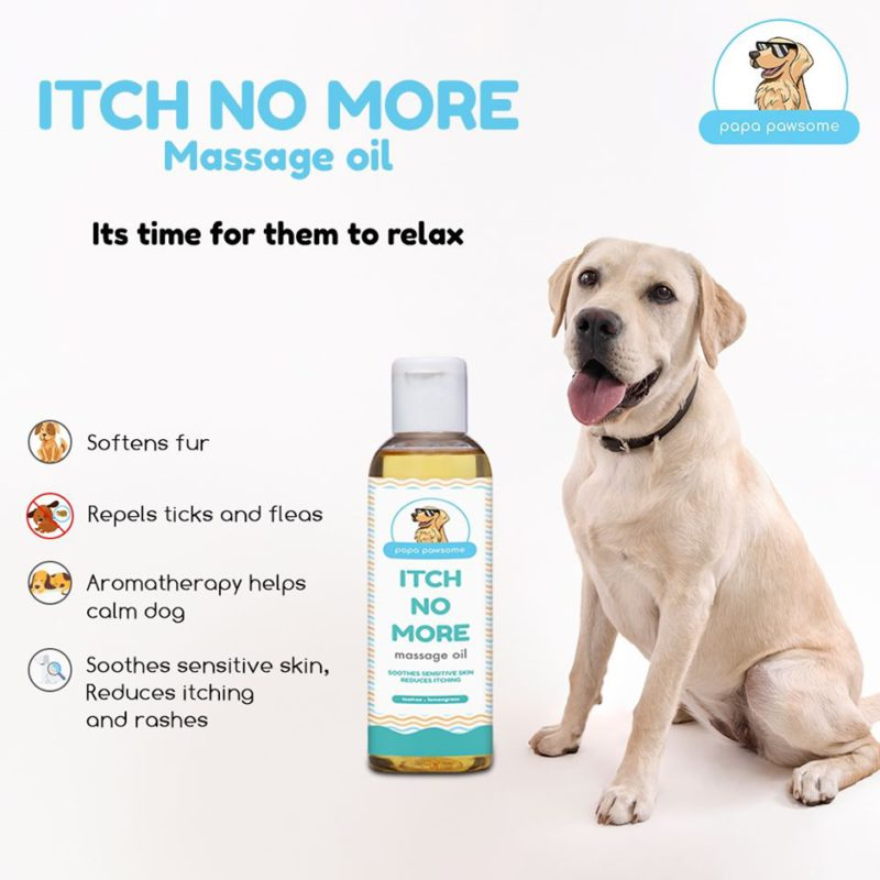 Papa Pawsome Itch No More Massage Oil for Dogs, 100 ml