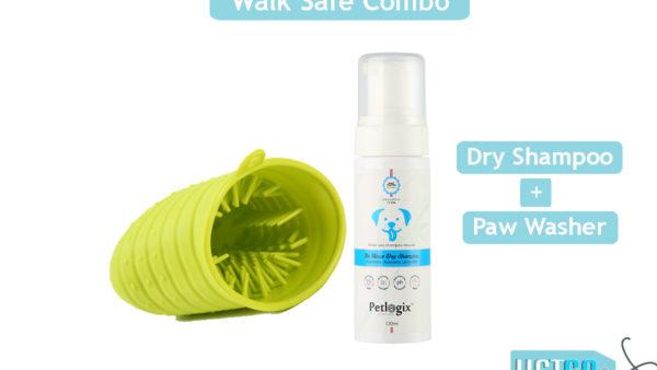 Petlogix Walk-Safe Dry Shampoo + Paw Washer Combo