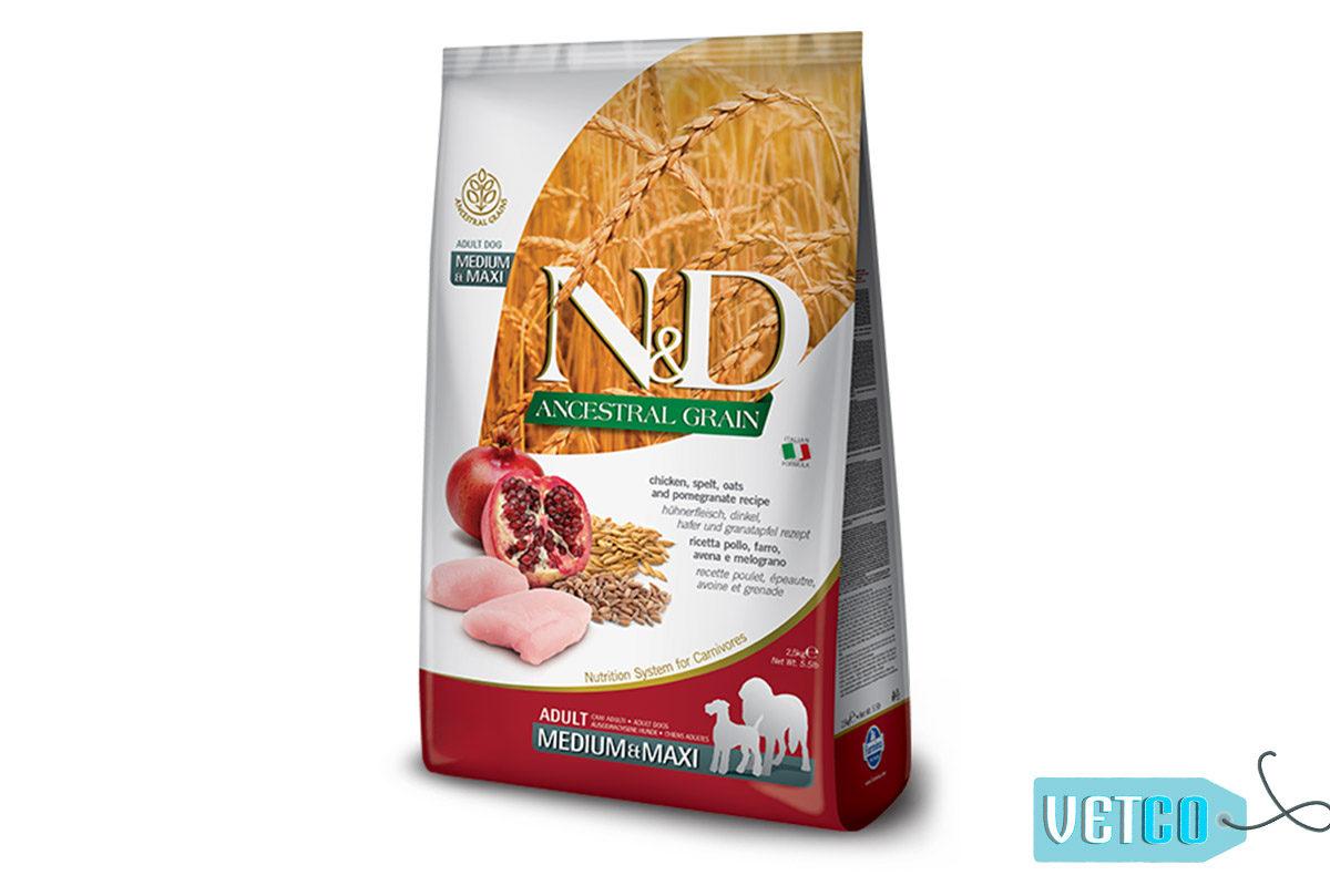 Farmina N&D Ancestral Low Grain Chicken & Pomegranate Adult Dog Food (Medium & Maxi Breeds)