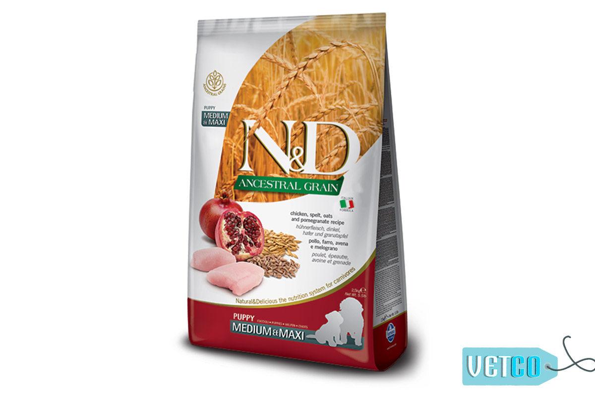 Farmina N&D Ancestral Low Grain Chicken & Pomegranate Puppy Dog Food (Medium & Maxi Breeds)