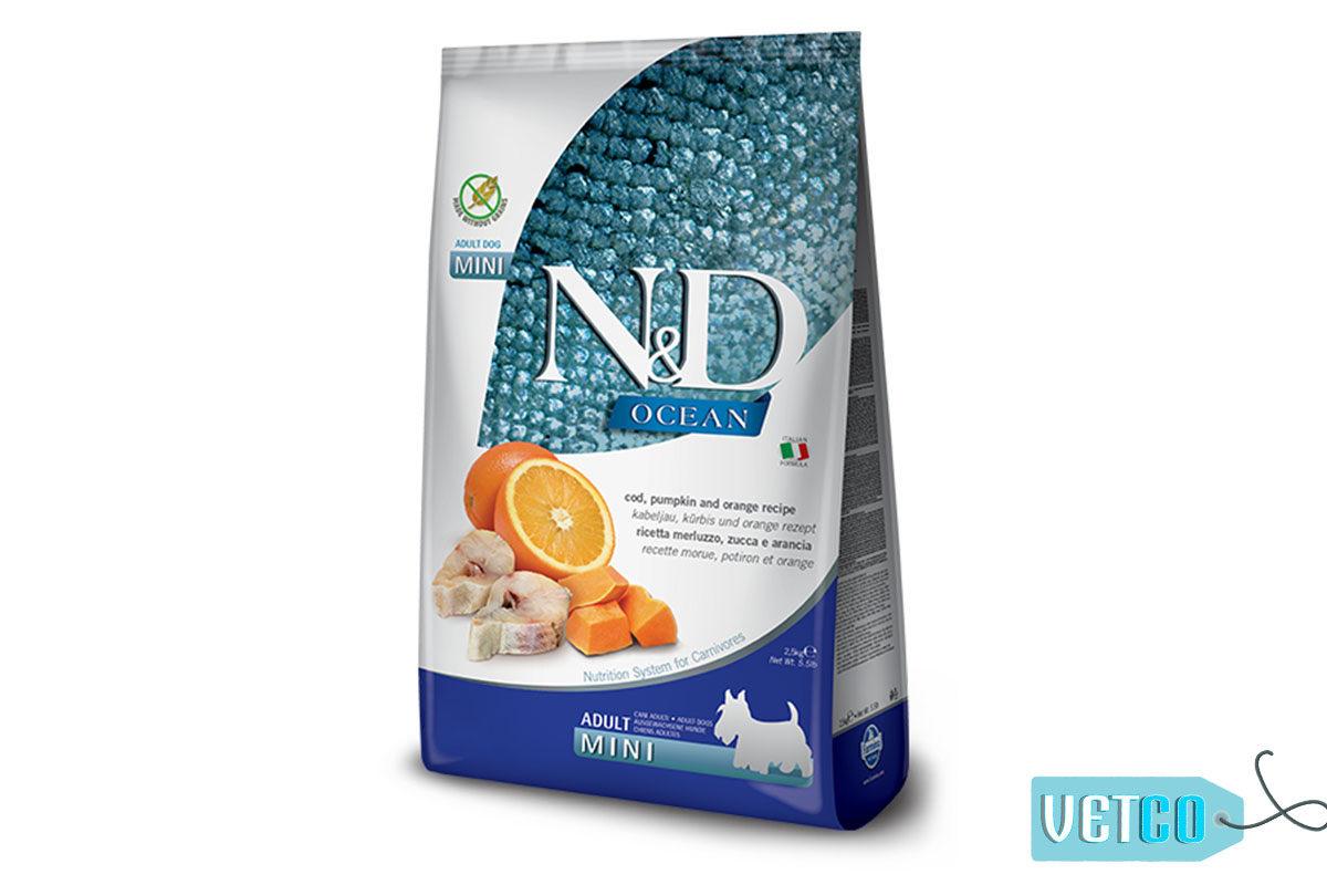 Farmina N&D Ocean Grain Free Codfish, Pumpkin & Orange Adult Dog Food (Mini & Small Breeds)
