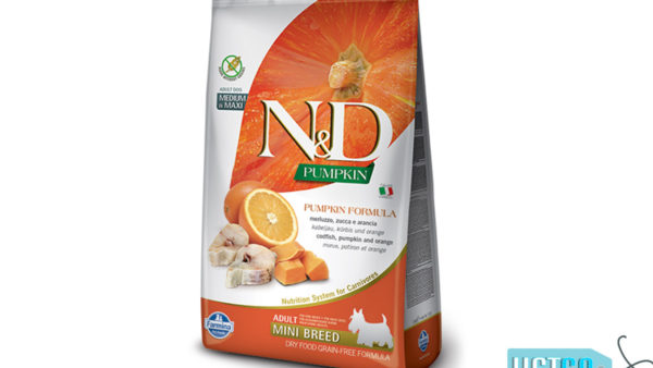 Farmina N&D Pumpkin Grain Free Codfish & Orange Adult Dog Food (Mini & Small Breeds)