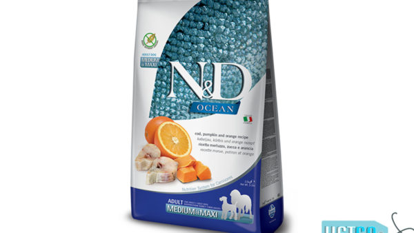 Farmina N&D Prime Grain Free Codfish, Pumpkin & Orange Adult Dog Food (Medium & Maxi Breeds)