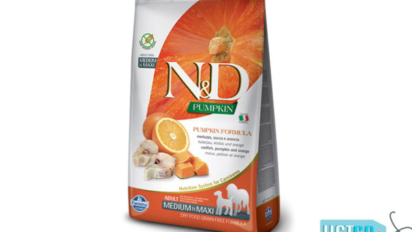 Farmina N&D Pumpkin Grain Free Codfish & Orange Adult Dog Food (Medium & Maxi Breeds)