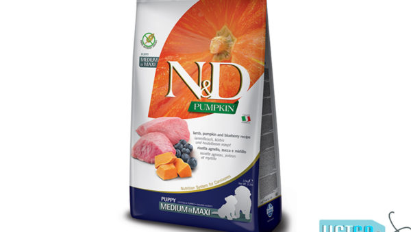 Farmina N&D Pumpkin Grain Free Lamb & Blueberry Puppy Dog Food (Medium & Maxi Breeds)