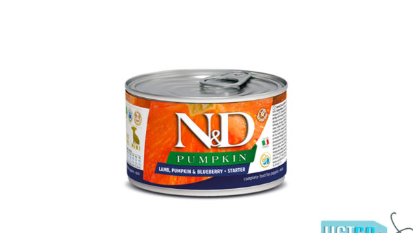 Farmina N&D Pumpkin Starter Puppy Wet Dog Food Lamb & Blueberry (Small & Mini Breeds), 140 gms