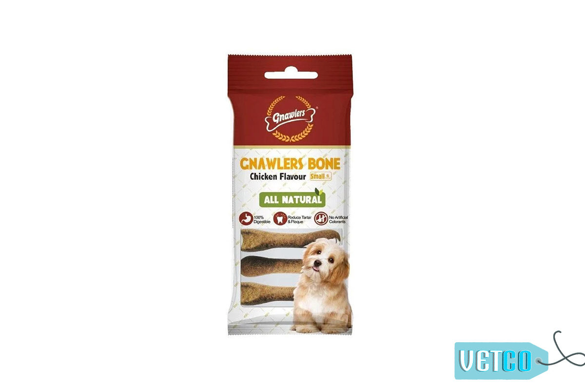 Gnawlers Bone Dog Treat Chicken Flavour - Small, 180 gms (Pack of 2)