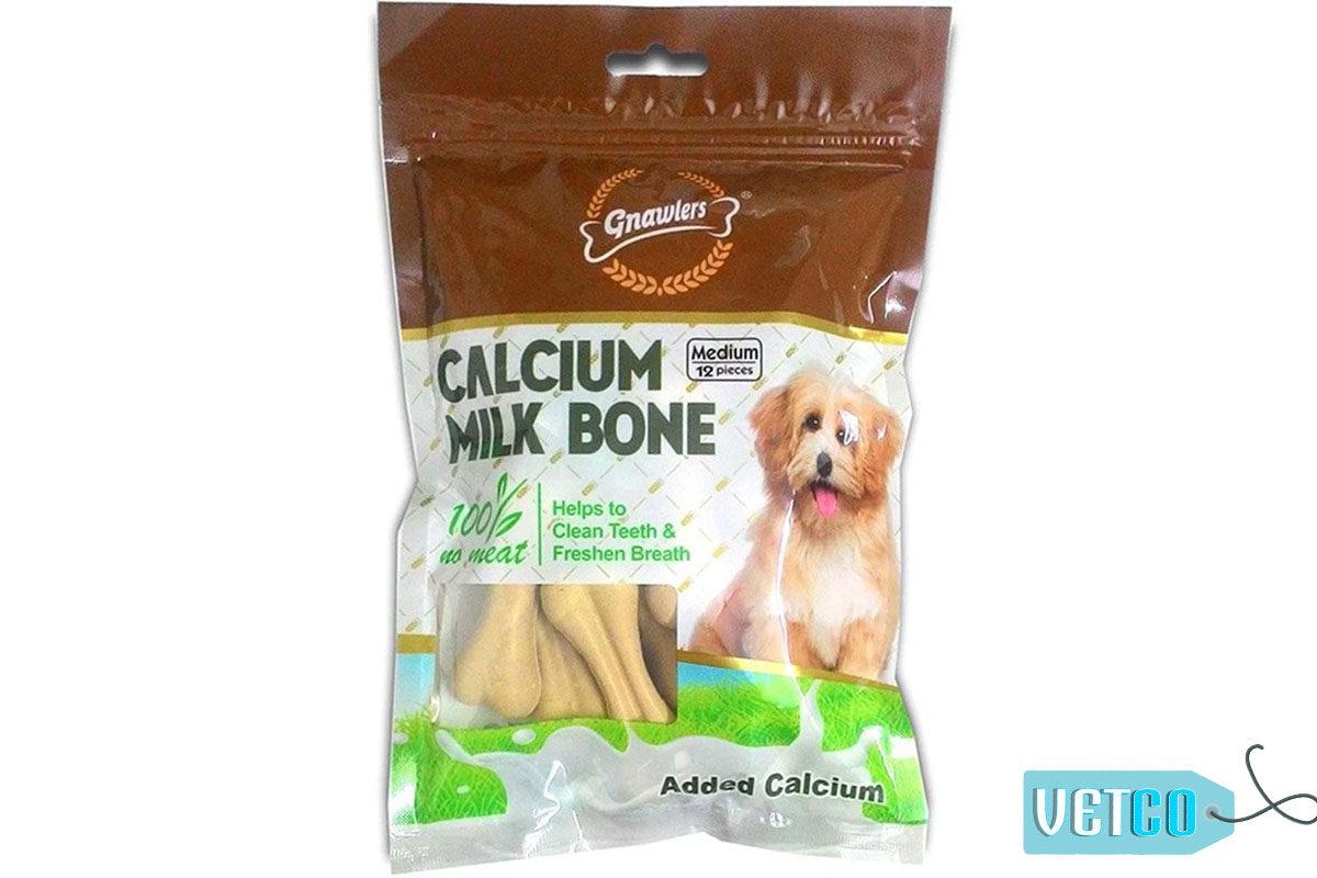 Gnawlers Calcium Milk Bones Dog Treats - Medium (12 Pieces), 270 gms
