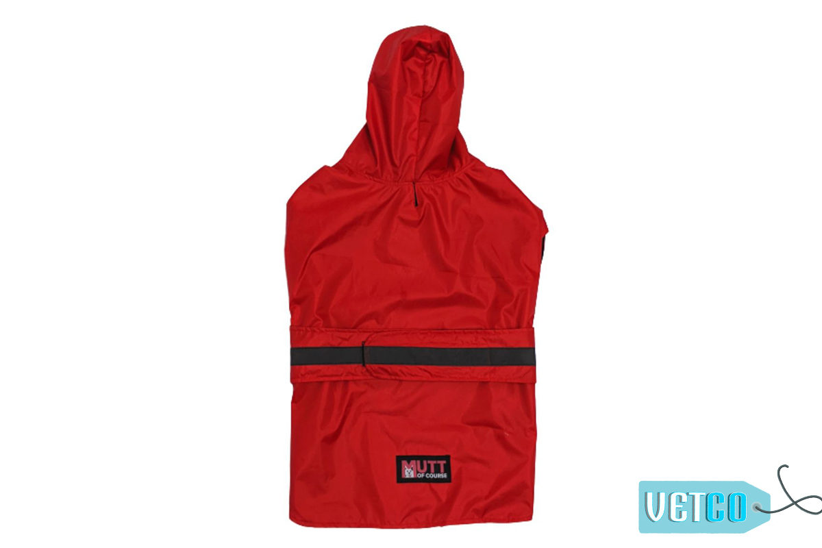 Mutt Ofcourse Dog Raincoat - Radiant Red