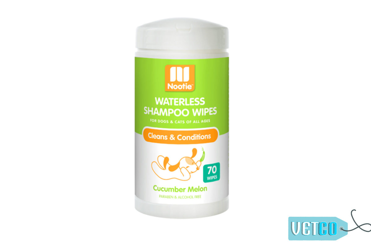Nootie Cucumber Melon Waterless Shampoo Dog & Cat Wipes, 70 count