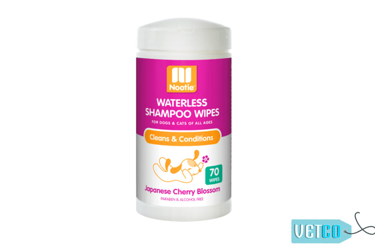 Nootie Japanese Cherry Blossom Waterless Shampoo Dog & Cat Wipes, 70 count