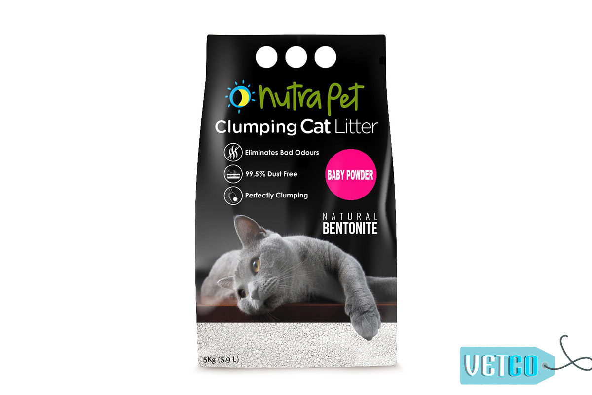 Nutrapet Baby Powder White Bentonite Clumping Cat Litter, 5kg